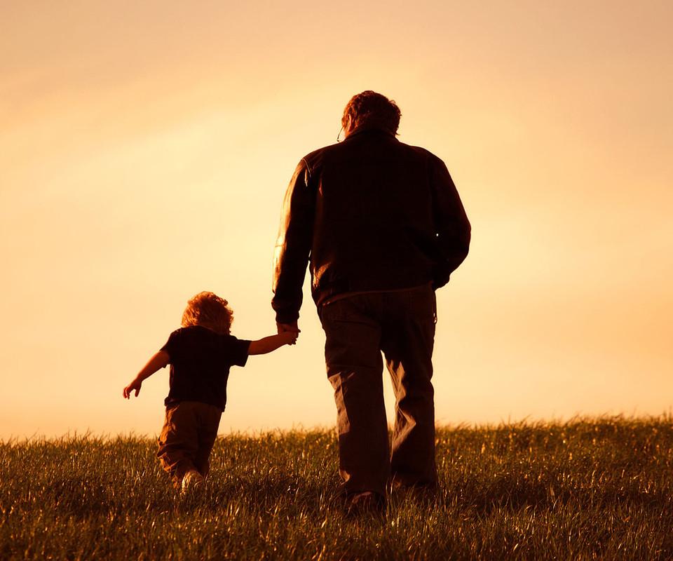 日落父子背影h5背景 绿色,清新,父子,儿童,水墨,海报ban.