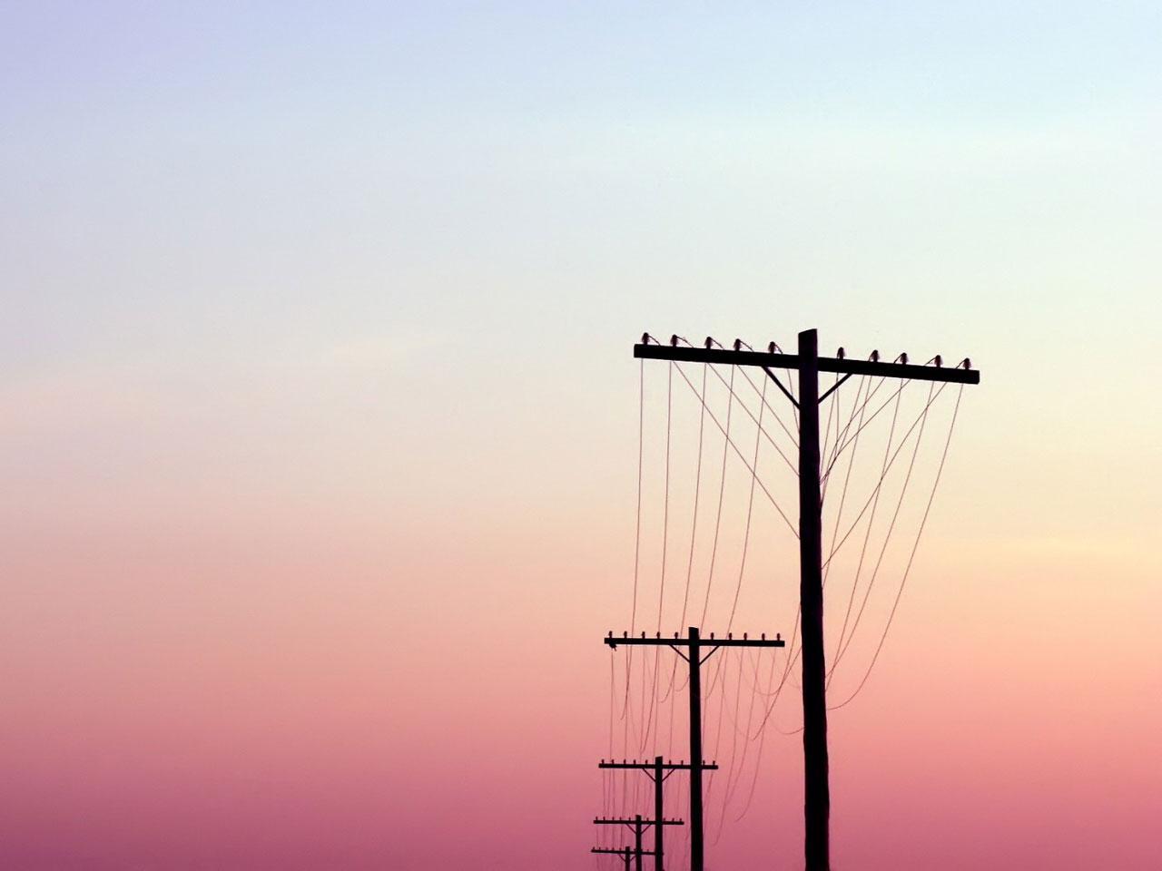 唯美电线杆图片